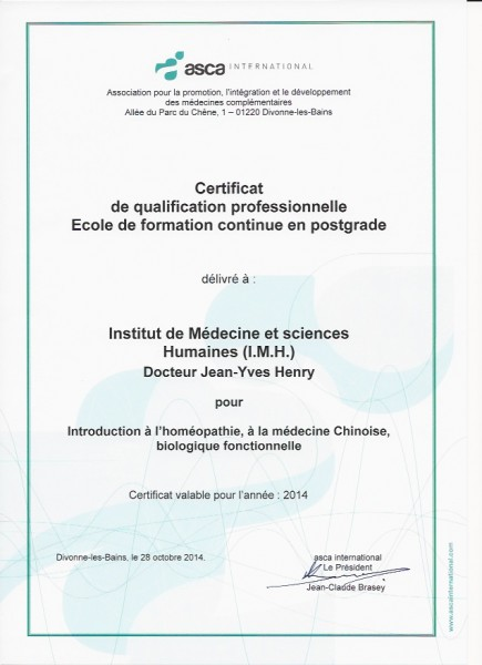 Certificat Qualification