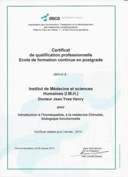Certificat Qualification